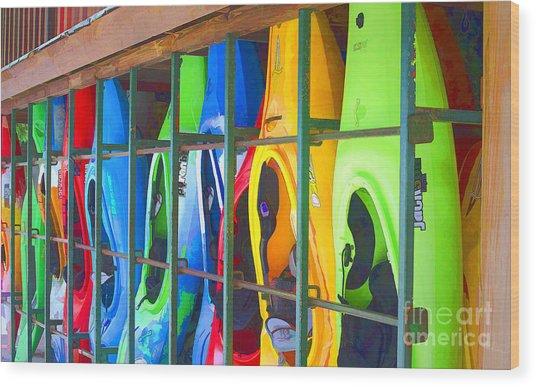 Bright Kayak Wood Print