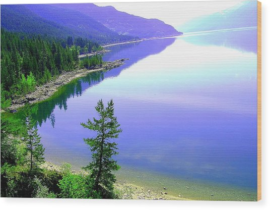 Bright Kootenay Lake Wood Print by Mavis Reid Nugent