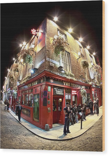 Wood Print featuring the photograph Bright Lights Of Temple Bar In Dublin Ireland by Mark E Tisdale