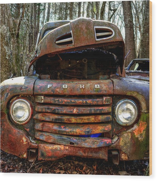 Bright Lights On An Old Ford Wood Print