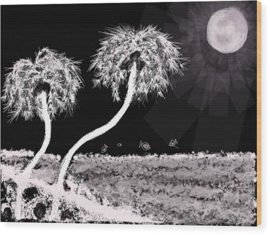 Bright Night In The Tropics Wood Print