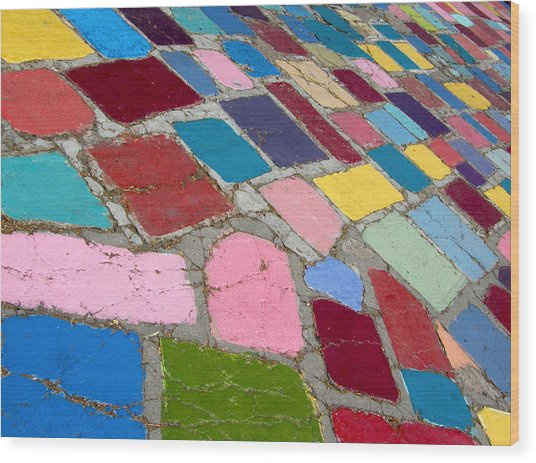 Bright Paving Stones Wood Print