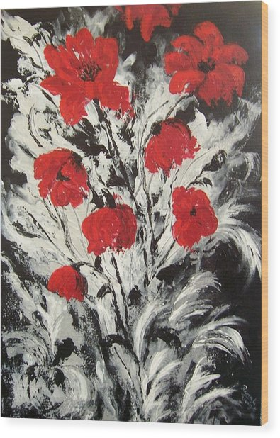 Bright Red Poppies Wood Print