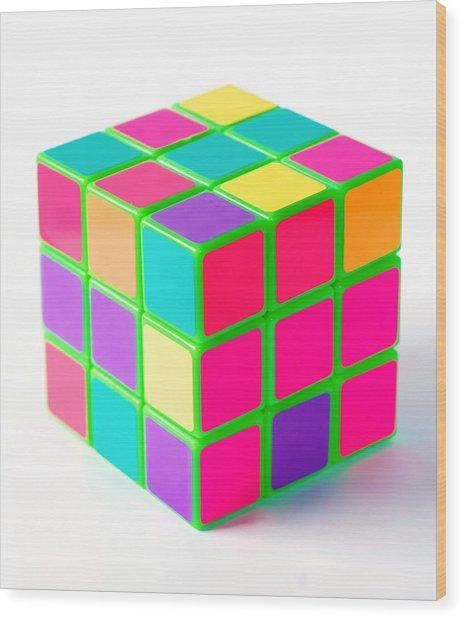 Bright Rubix Wood Print by Kenneth Feliciano