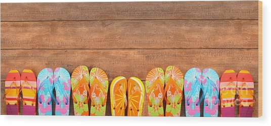 Brightly Colored Flip-flops On Wood  Wood Print