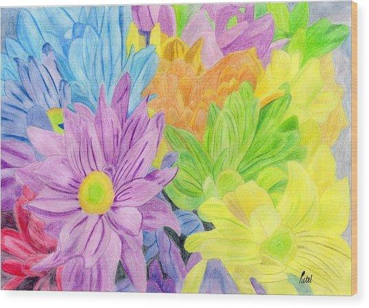 Brightly Coloured Flowers Wood Print by Bav Patel