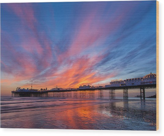 Brighton Sunset Wood Print