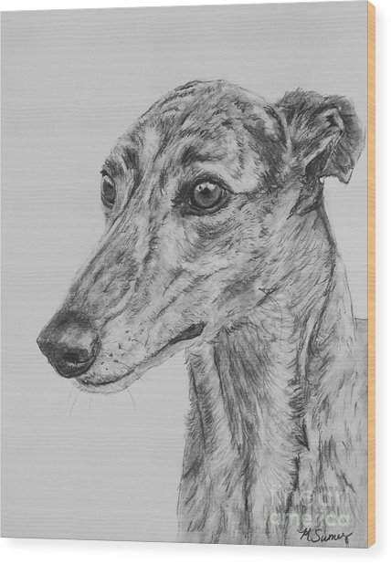 Brindle Greyhound Face In Profile Wood Print