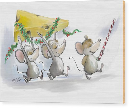 Bringing In The Christmas Cheese Wood Print