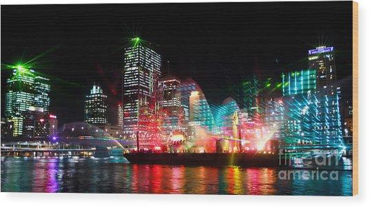 Brisbane City Of Lights Wood Print