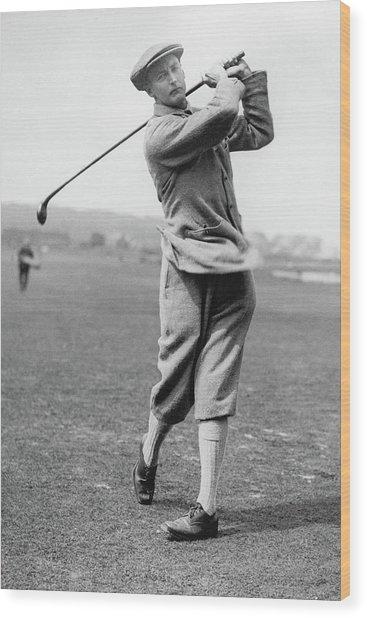 British Golfer Sir Ernest Holderness Swinging Wood Print by Artist Unknown