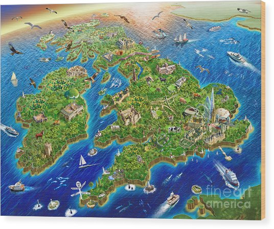 British Isles Wood Print
