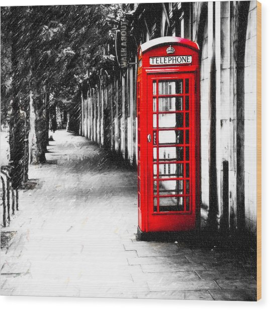 Wood Print featuring the photograph British Red Telephone Box From London by Mark E Tisdale