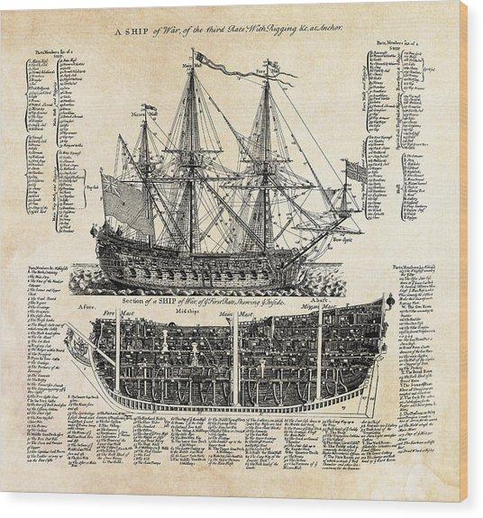 British Ships Of War  1728 Wood Print