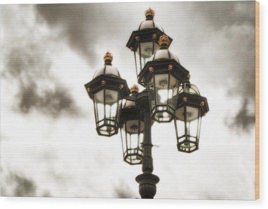 British Street Lamp Against Cloudy Sky Wood Print
