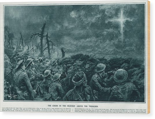 British Troops See The Cross Of Jesus Wood Print by  Illustrated London News Ltd/Mar