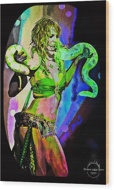 Britney Neon Dancer Wood Print