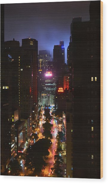 Broadway And 72nd Street At Night Wood Print