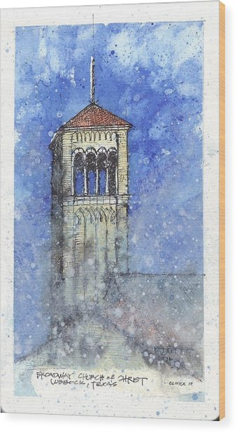 Broadway Church Tower Wood Print