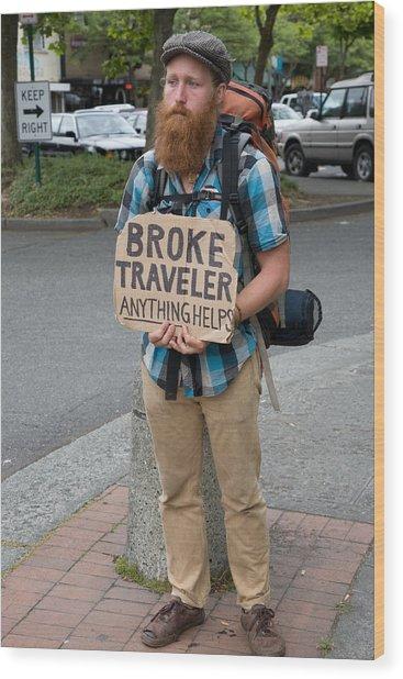 Broke Traveler Wood Print