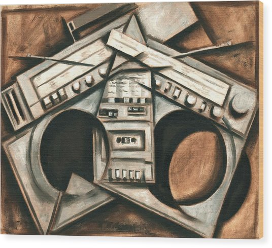 Broken Beats Vintage Stereo Boombox Art Print Wood Print