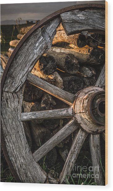 Broken Cart Wheel With Missing Spoke And Logs On A Farm At Pacia Wood Print