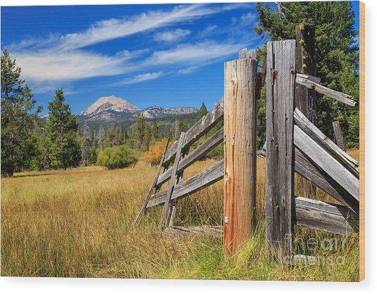 Broken Fence And Mount Lassen Wood Print