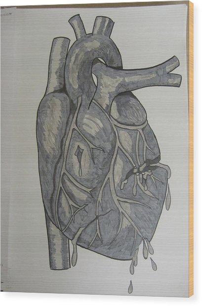 Broken Heart Wood Print by Rosanne Bartlett