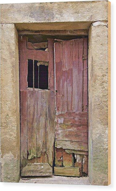 Broken Red Wood Door Wood Print