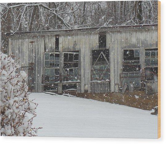 Broken Windows In The Snow Wood Print by Sharon Costa