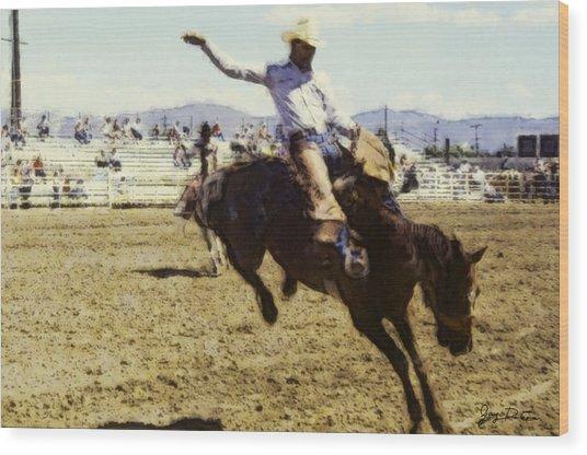Bronco Rider Wood Print