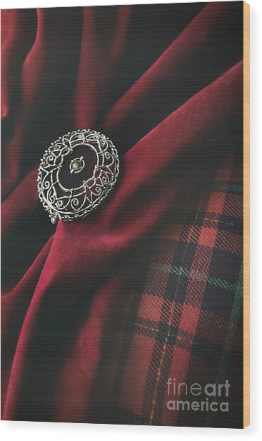 Brooch With Red Velvet And Green Plaid Wood Print