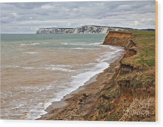 Wood Print featuring the photograph Brook Bay And Chalk Cliffs by Jeremy Hayden