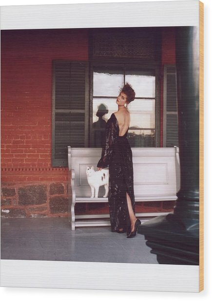 Brooke Shields Wearing Black Dress With Cat Wood Print