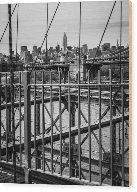 Brooklyn Bridge 2853 Bw Wood Print by Deidre Elzer-Lento