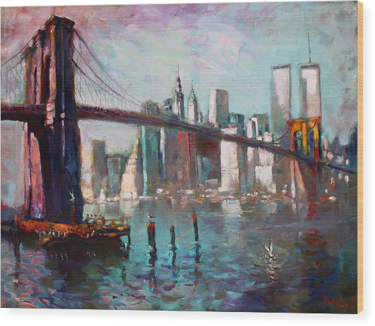 Brooklyn Bridge And Twin Towers Wood Print