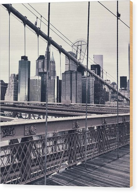 Brooklyn Bridge Wood Print by CD Kirven