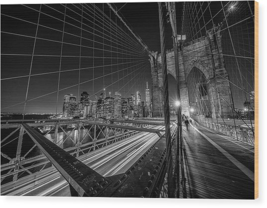 Brooklyn Bridge Lights Wood Print