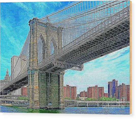 Brooklyn Bridge New York 20130426 Wood Print by Wingsdomain Art and Photography