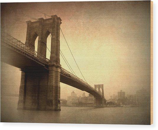 Brooklyn Bridge Nostalgia II Wood Print