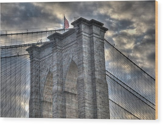 Brooklyn Bridge Tower Wood Print
