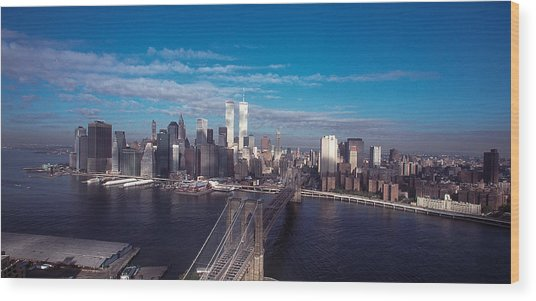 Brooklyn Bridge With Manhattan Skyline Wood Print by Kim Lessel