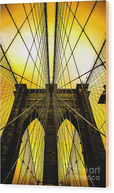 Brooklyn Bridge Yellow Wood Print