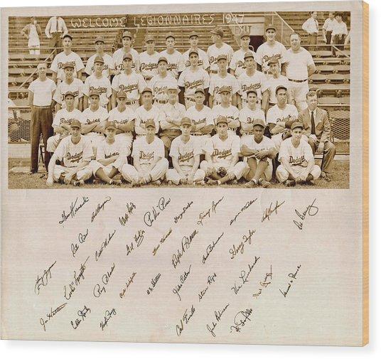 Brooklyn Dodgers Baseball Team Wood Print