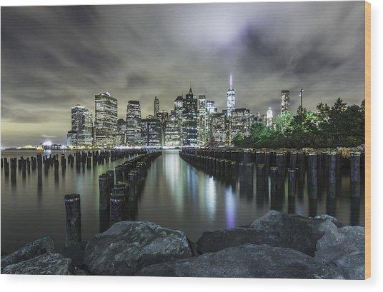 Brooklyn On The Rocks  Wood Print