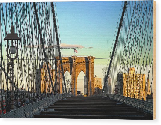 Brooklynbridge Wood Print by Frank Savarese