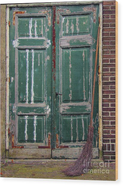 Broom Door Wood Print