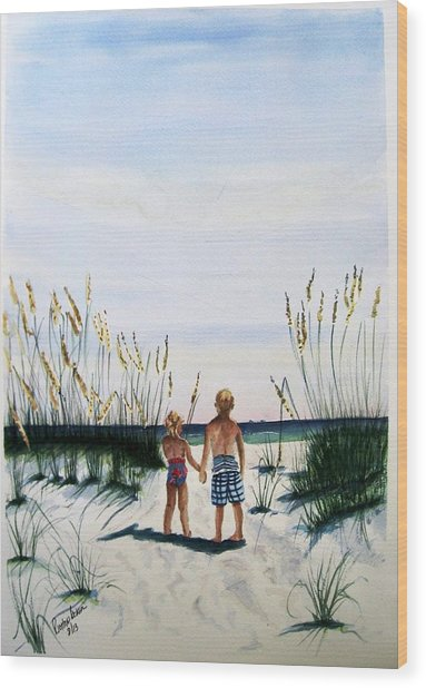 Brother Sister On Beach Sold Wood Print
