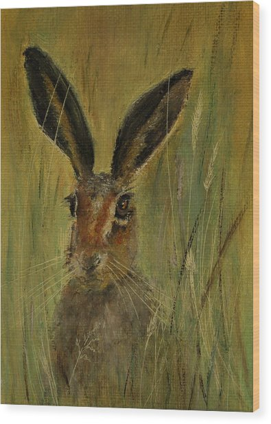 Brown Hare Miniature Wood Print