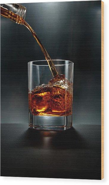 Brown Liquor Drink Pour On Black Wood Print